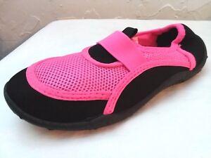 ATHLETIC WORKS - Girls Size 11/12, 13/1, 2/3 FUCHSIA/BLACK Premium Water Shoes