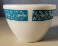 Set of 4 PYREX Bluegrass Pattern Custard Bouillon Cup 714 Leaf Corning Turquoise