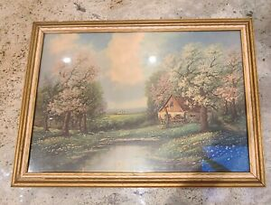 Russian painter Nina Kogan  old print in wooden frame