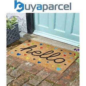 Smart Garden Hearty Heart Hello Coir Doormat PVC Backing Mat Indoor Outdoor