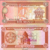 Turkmenistan Pick-Nr: 1 bankfrisch 1993 1 Manat