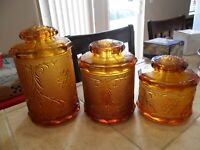LOVELY 3 CANISTERS W/LIDS HONEY AMBER INDIANA TIARA GLASS SANDWICH PATTERN 1960?