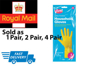 Vivid Latex Rubber Household Cleaning Gloves Strong Washing Up Gloves Kitchen UK