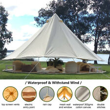 5M Cotton Canvas Large Bell Tent Waterproof 4-Season Style Glamping OutdoorParty