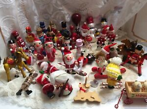 Xmas tree ornaments wooden Taiwan lot 40 soldiers Santa snowman pony's toys etc