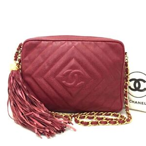 CHANEL Red Quilted  Fringe CC Logo Caviar Skin Chain Shoulder Bag /ee969