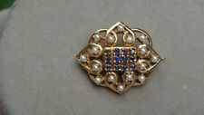ESTATE 14K GOLD SEED PEARLS AND SAPPHIRES PIN BROOCH