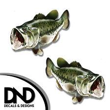 "Largemouth Bass - Fish Decal Fishing Hunting Bumper Sticker ""3in SET"" F-0280 D&"