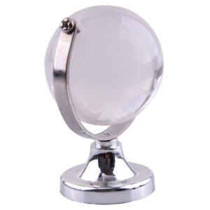 40mm Round Earth Globe World Map Crystal Glass Paperweight Stand Desk Decor al