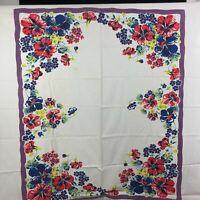Vintage Wilendur Farmhouse Retro Kitchen Tablecloth Floral 50s Blue Red Purple