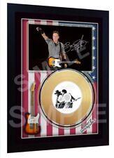 Bruce Springsteen Born to ru Mini Gold Vinyl CD Record Signed Framed Photo Print