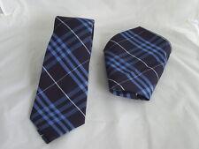 "TARTAN-Navy/Blue/White Polyester Mens Classic 3.3"" = 8.2cm Tie and Hankie Set"