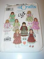 """GIRLS CHILDS CUT SIMPLICITY 9856 Sewing Pattern 18"""" DOLL CLOTHES DRESS PINAFORE"""