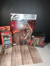Jurassic World Dinosaurs lot of 3 Jumbo Coloring Book Stickers Crayons