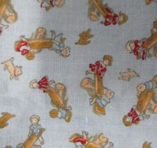 Kids Playing Teeter Tooter Blue Cotton Quilting Fabric almost 1 Yard