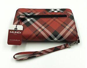 New Mundi My Big Fat Wallet Red Plaid Print Zip Around Clutch Wristlet Organizer