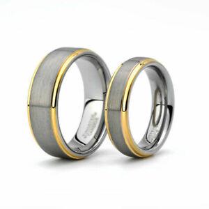 Free Engraving - 8MM/6MM Tungsten Carbide Gold Step Edge Brush Wedding Band Ring