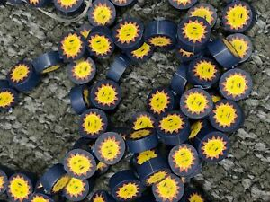 NEW 100 pieces Polymer Clay 13 mm Beads Disc Sun Flowers