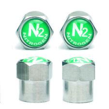 Copper Tire Valve Stem Caps Green N2 Nitrogen Logo+ Seal/Chrome-Plated 4pcs