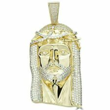 HUGE Mens Jesus Head Diamond Cross Piece Pendant 14k Gold Over SOLID Silver 925