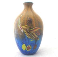 Murano Encased Millefiori Vase Art Glass Blue Orange Yellow Red 10 inch