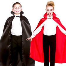Vampire Satin Cape Kids Fancy Dress Halloween Cloak Boys Girls Costume Accessory