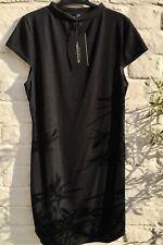 Pretty Little Thing Black High Neck Ribbed Bodycon Dress Size 12