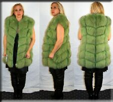 New Lime Green Fox Fur Vest Size Medium 6 8 M Efurs4less