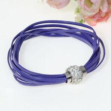 Armband Kunstleder violett Shamballaverschluss Magnet