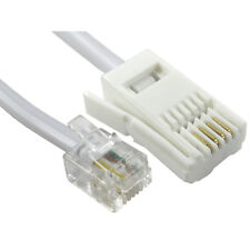 10m RJ11 to BT Socket Cable Lead Modem FAX Telephone Phone Plug 4 Pin Straight