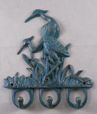 Cast Iron Crane Wall Hook Hat Rack Key Holder Wildlife Hooks Sea River Birds