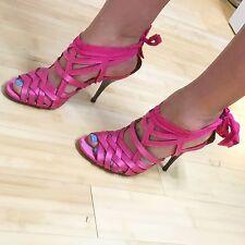 Hot Pink, Lanvin Heels, Satin, Bow, 37, Netaporter, Rare, Soldout, Summer