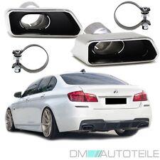 Chrom Auspuffblenden SET eckig + Zubehör passend für BMW F10 F11 550 M-Paket