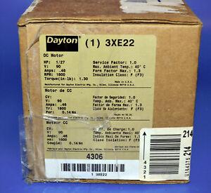 New Dayton 3XE22 1/27 HP DC Permanent Magnet Motor 1800 RPM