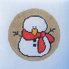 Snowman Christmas Ornament Hand Painted Needlepoint Canvas