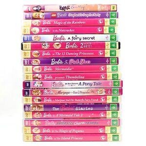 16 x Barbie Movie DVD Bundle Bulk Lot Princess Charm School Nutcracker Rainbow