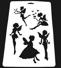 Wall Stencil Reusable Plastic Template Fairies Angel Fairy Pixie + Brush No10