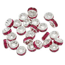 100 New Silver Plated Fuschia Rhinestone Rondelle Spacers Beads 8x4mm