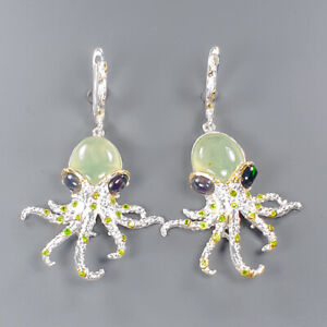 11ct+ Fine Art SET Prehnite Earrings Silver 925 Sterling   /E46242