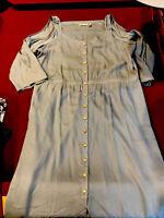 Soft Surroundings 3XL Blue Tencel Cold Shoulder Maxi Dress  Gold Buttons Hi Low