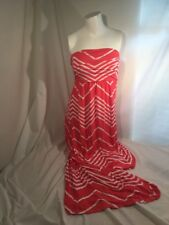NWT! Design History Strapless Sun Dress Beach Coral Rose Chevron Sz M $118 MRSP
