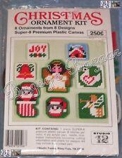 Studio Twelve 8 CHRISTMAS ORNAMENTS Plastic Canvas Needlepoint Kit - Angels,Cats