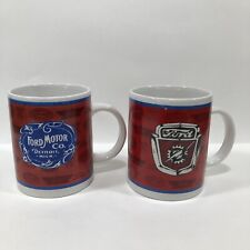 "Set of 2 Ford Motor Company Emblem Porcelain Coffee Mugs Cups 12 OZ 4"" Tall"