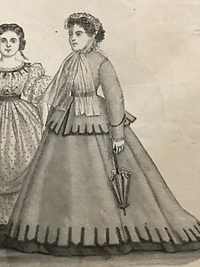 Year 1867 - MODE ILLUSTREE SEWING PATTERN Jan 13,1867 - DOLLS outfits patterns