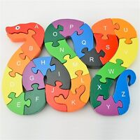 26pcs Alphabet Wooden Puzzle Jigsaw Kids Number Block Preschool Snake Toy VSK