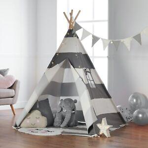 Haus Projekt Kids Boys Girls Grey TeePee Tent with Fairy Lights, Bunting & Base