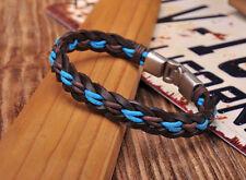 G205B Surfer Handmade Hemp & Leather Braided Wristband Bracelet Cuff Brown&Blue