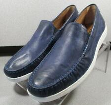 301627 TFT50 Men's Shoes Size 9 M Navy Leather Slip On Loafer H.S. Trask