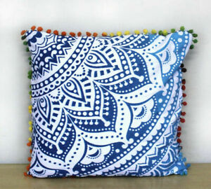 "Blue Ombre Boho Hippie Bohemian Mandala Sofa Bed Pom Pom Cushion Covers 16""/41cm"