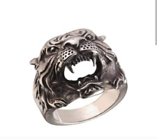 Silver Customized Ring For Christmas Animal Tiger Head Shape 925 Sterling